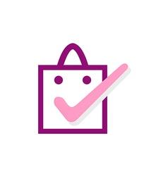 Happy shopping bag abstract logo vector