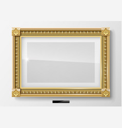 Horizontal classic picture in gold frame vector