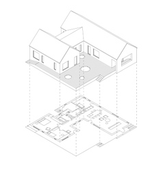House projection with plan vector
