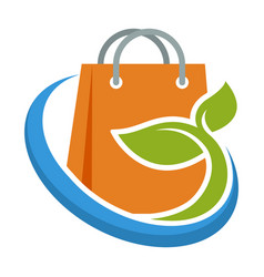 Icon logo for organic product shopping business vector