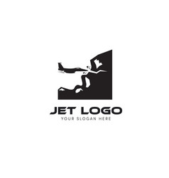 Jet logo trying to drilling hill and mountain vector