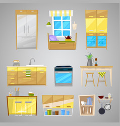 Kitchen interior furniture and home vector