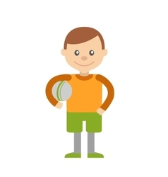 Little boy with ball in hand vector image