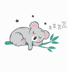 little cute koala sleeping on green bamboo vector image