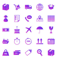 logistics gradient icons on white background vector image