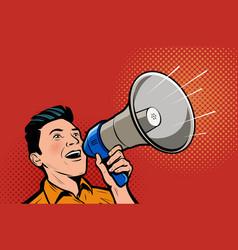 Man speaking in megaphone retro comic pop art vector