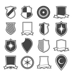 medieval shield icon set vector image