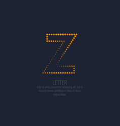 modern dotted letter z of the latin alphabet vector image