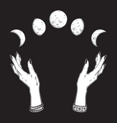 Moon phases in hands witch vector
