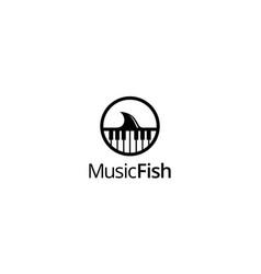 Music anf fish logo concept vector