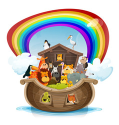 Noahs ark with rainbow vector