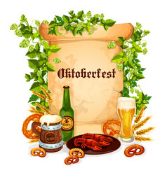 oktoberfest poster of beer snacks vector image