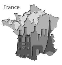 Paper map of France with different leyers vector image