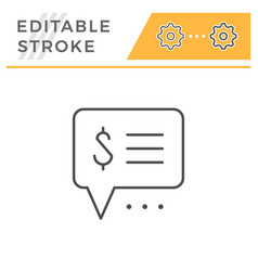 payment info editable stroke line icon vector image