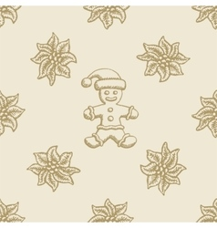 poinsettia christmas gingerbread flower pattern vector image