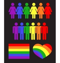 Rainbow gay LGBT rights icons and symbols vector
