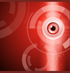 Red background with eye and binary code vector