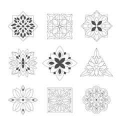 Regular Shape Doodle Ornamental Figures In Black vector image