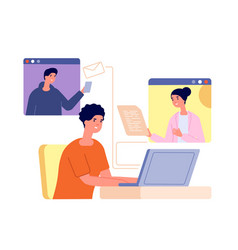 remote teamwork together virtual video call vector image