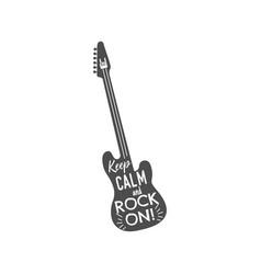 rock guitar emblem with text inside keep calm vector image