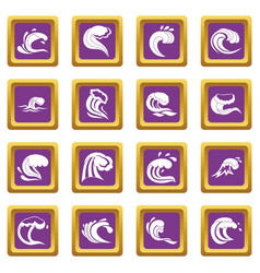 sea waves icons set purple vector image