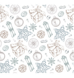 Seamless pattern with christmas spices and citrus vector