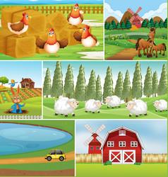 Set farm scene vector