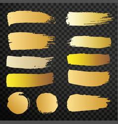 Set golden paint brush isolated strokes vector