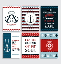 set nine vintage marine cards vector image