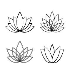 set of linear lotus icon sketch flower symbols vector image