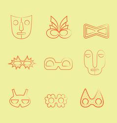 Set of orange line art carnival and tribal masks vector