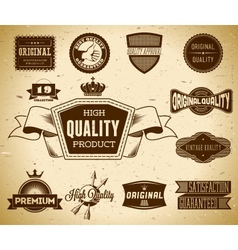 Set of vintage labels on the cardboard Collection vector image