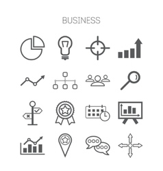 set simple isolated business icons vector image