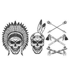 set skull in indian headwear vector image