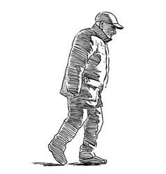 Sketch senior man walking along city street vector
