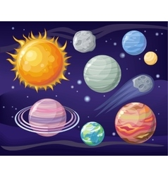 Space with Planet Sun and Star Design Flat vector