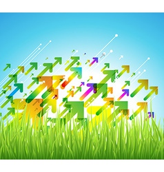 Spring arrow background with green grass vector
