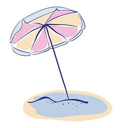 Summer Beach Parasole or Umbrella Hand Drawn vector