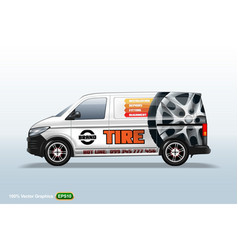 tire service delivery van template with advertise vector image