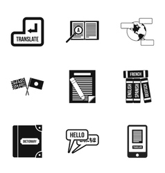 Translation of language icons set simple style vector