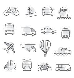 transport icons set on white background vector image