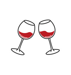 Two glasses wine cheers with wineglasses vector