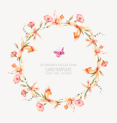Vintage floral round wreath with yellow vector
