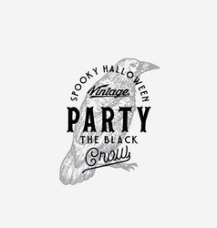 vintage style party halloween logo or label vector image