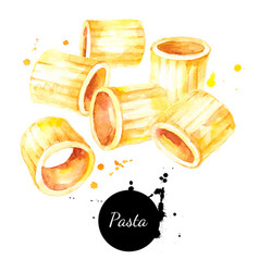 watercolor fresh italian pasta mezzi rigatoni vector image