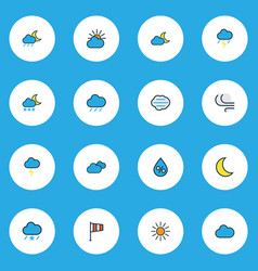 Weather icons colored line set with solar wind vector