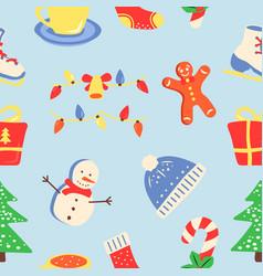 winter season holiday abstract seamless pattern vector image