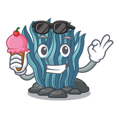with ice cream blue seaweed isolated in the vector image