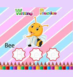 Worksheet writing practice alphabet b for bee vector