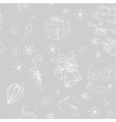 X-mas seamless hand drawn backgrownd gray vector image